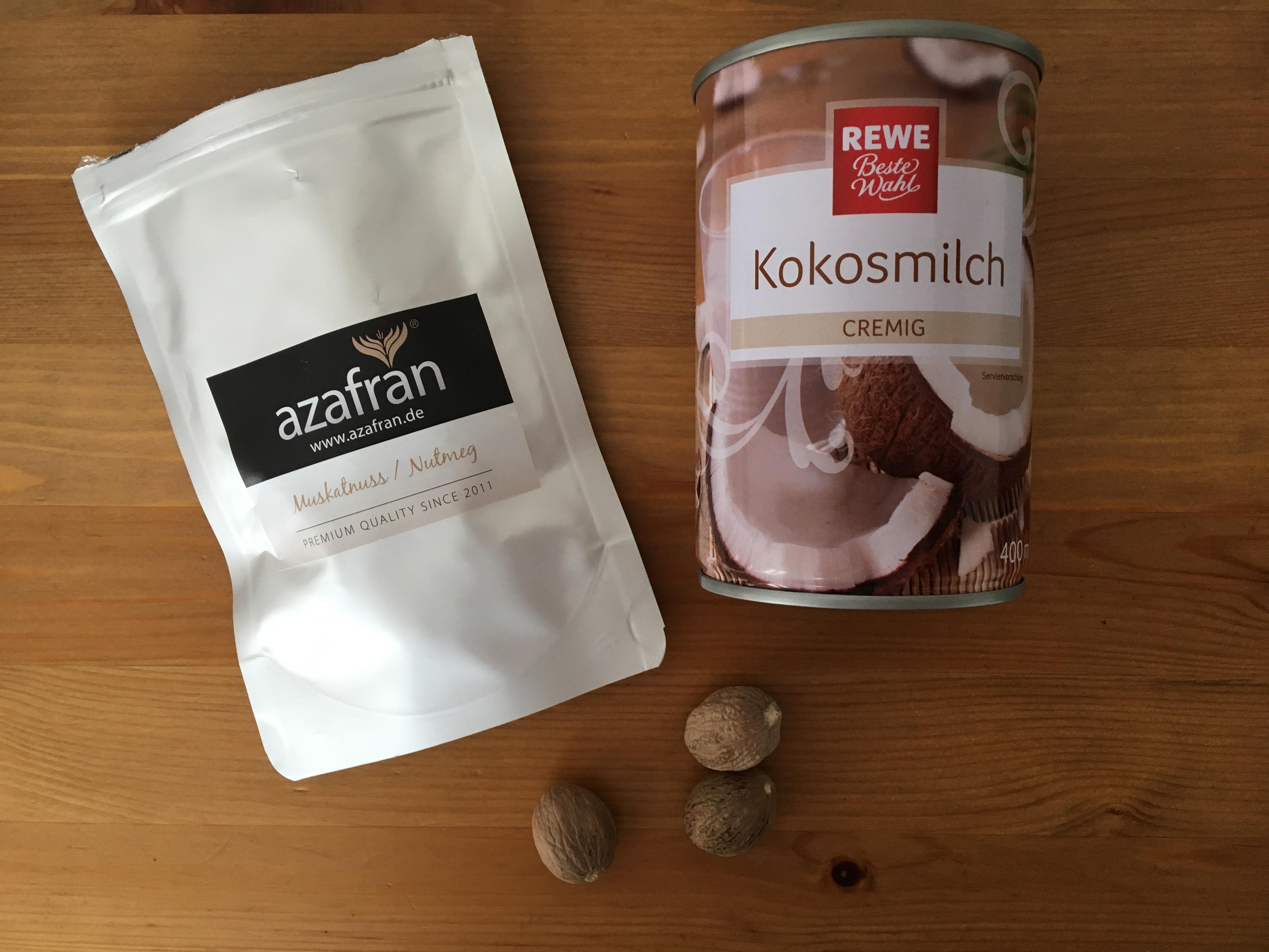 Zutaten Kokosmilch, Muskatnuss